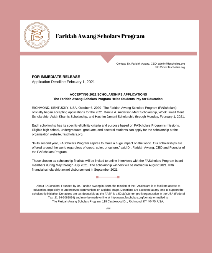 The Faridah Awang Scholars Program, Inc. (FAScholars) officially began accepting applications for the 2021 merit- and need-based scholarships through Monday, February 1, 2021.